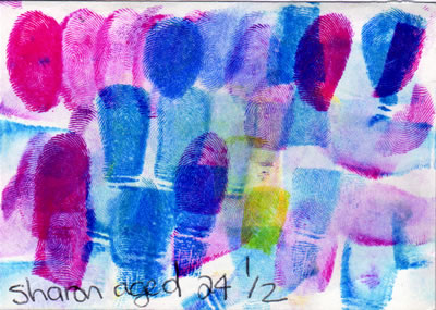 a finger painting by Sharon, Age 24 and 1/2